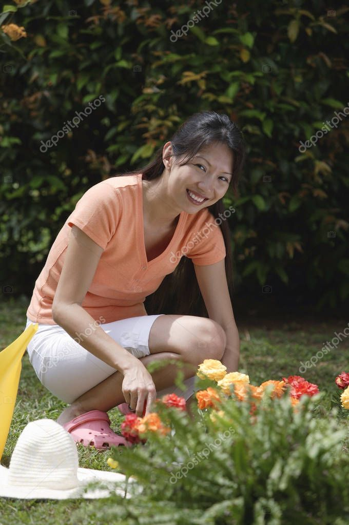 Woman work  in garden