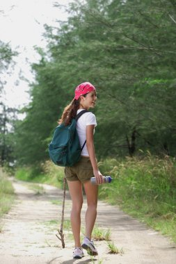 Woman on hiking trail
