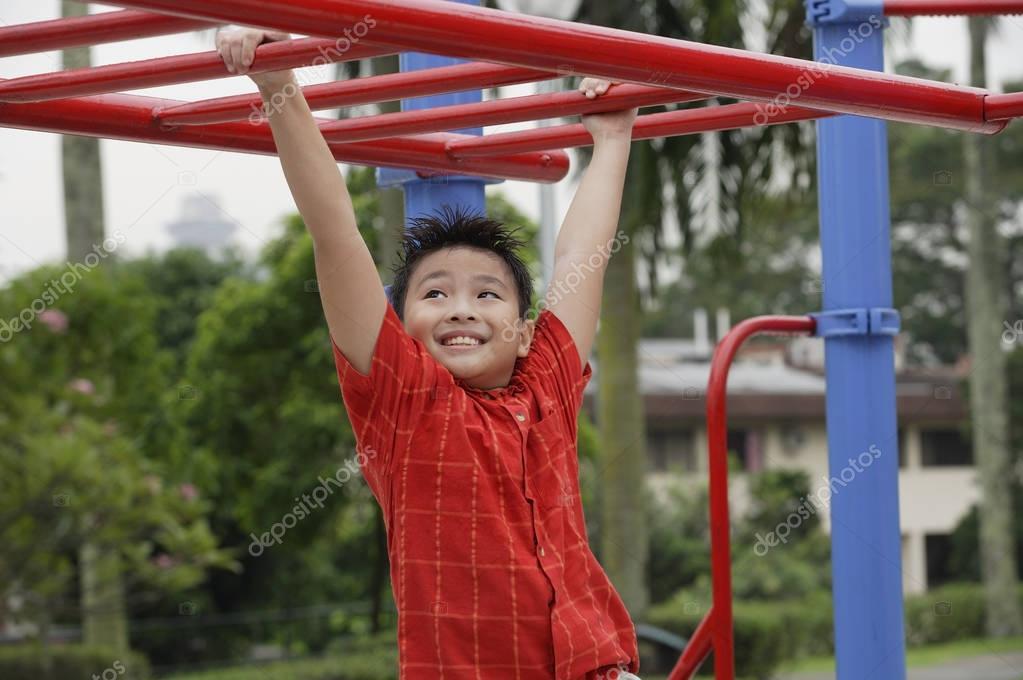 Boy have fun on playground