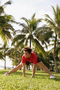 Man doing stretching exercises
