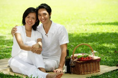 Couple sitting with picnic basket