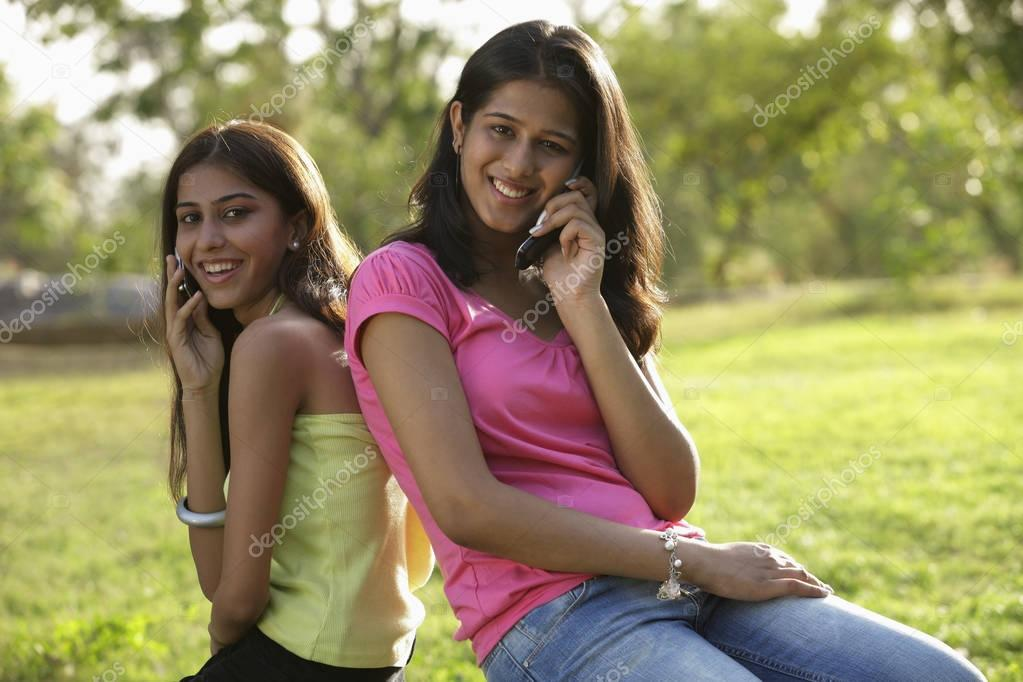 Two teen girls walking