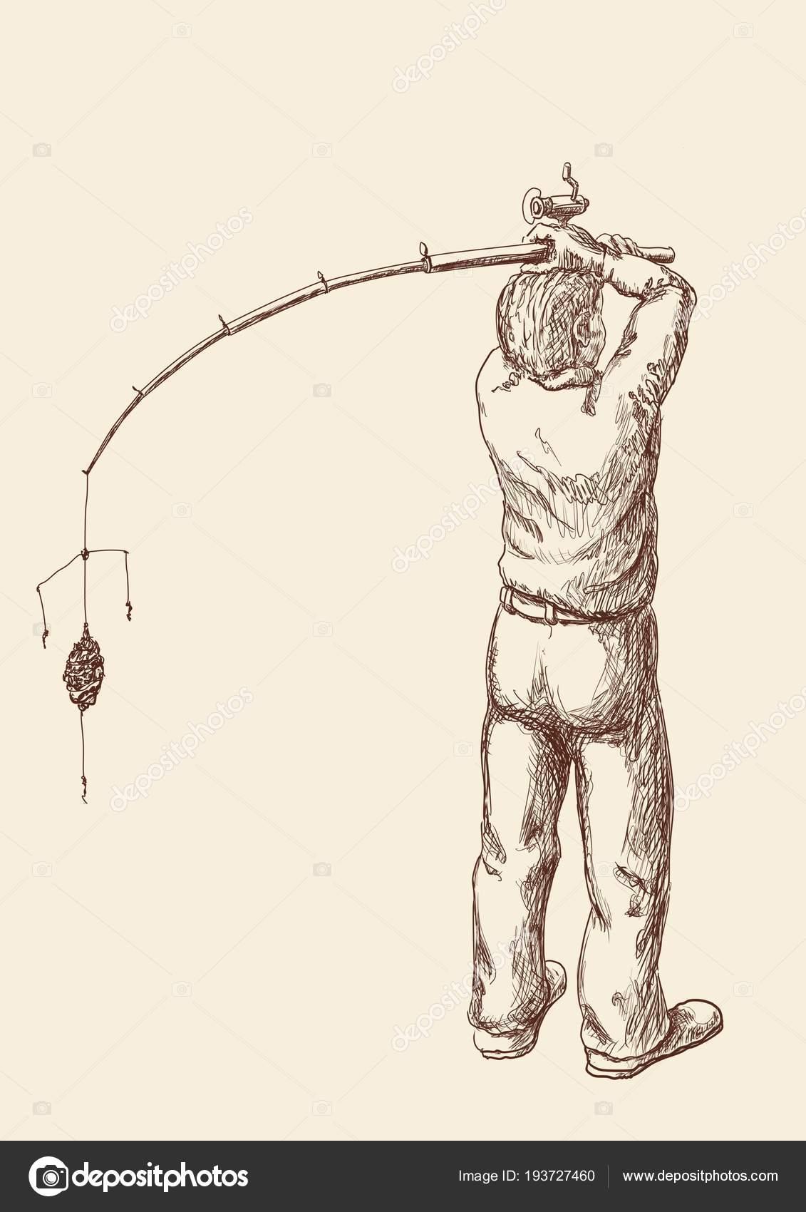 Pescador Con Una Caña Pescar Está Listo Para Iniciar Pesca — Vector ...