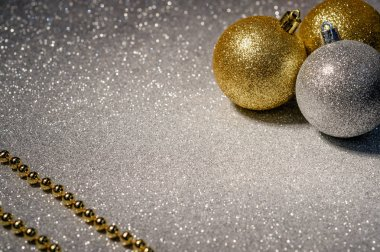 gold and silver christmas balls on a beautiful background13