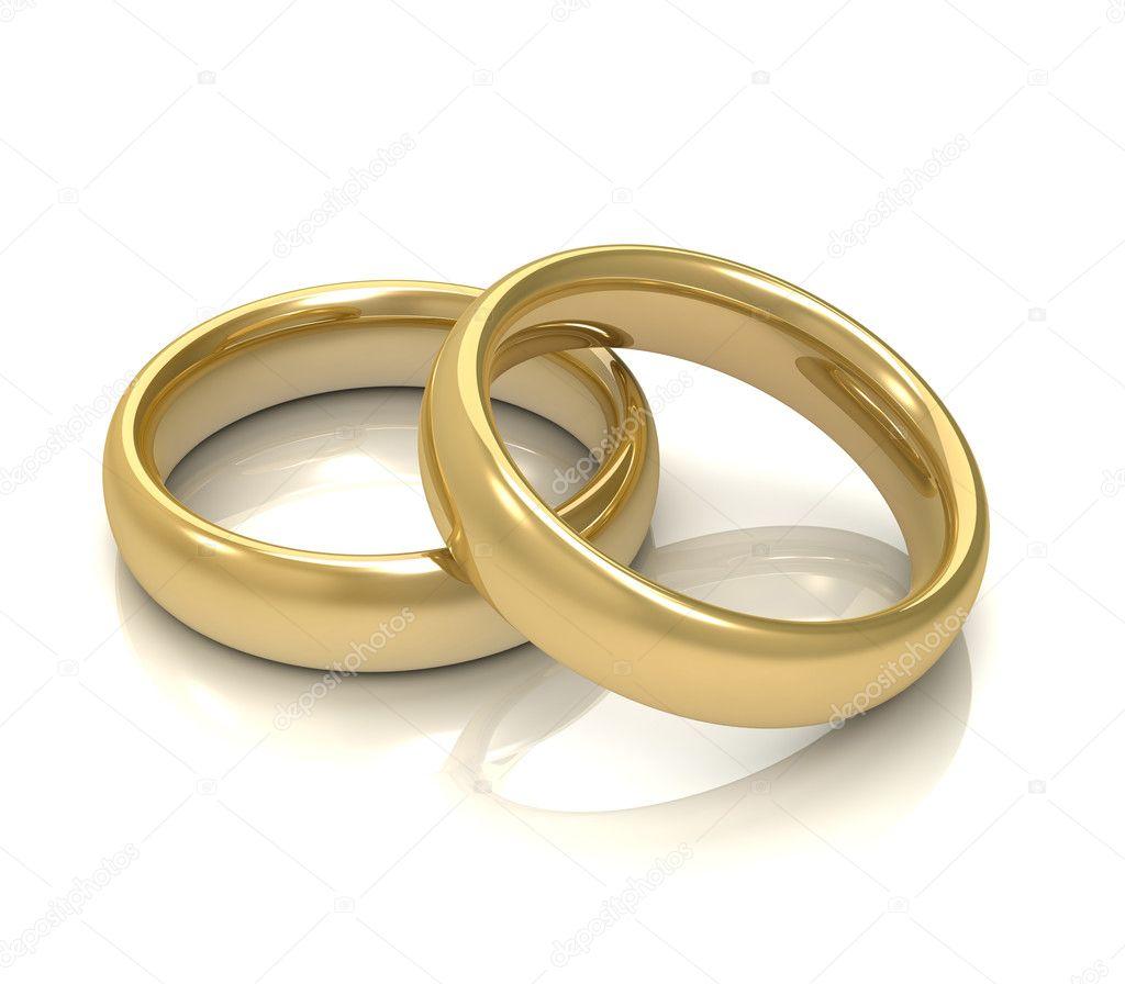 Goldene Hochzeit Ringe Konzept 3d Illustration Stockfoto