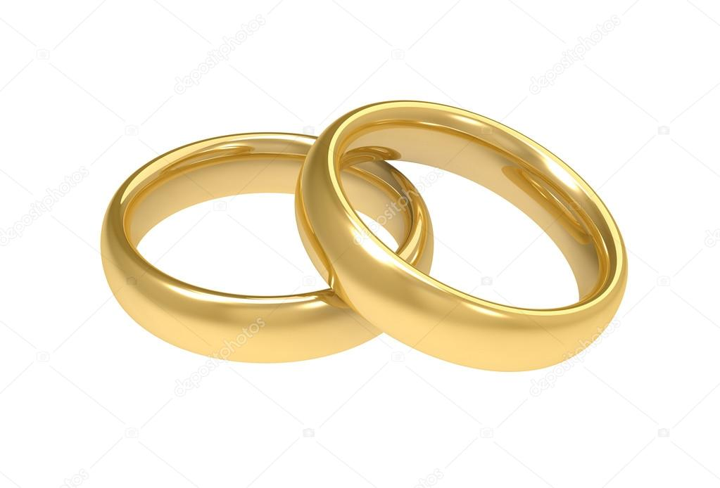 golden wedding rings concept 3d illustration Stock Photo