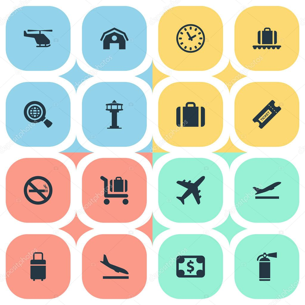 Set Of 16 Simple Transportation Icons. Can Be Found Such Elements As Air Transport, Global Research, Coupon And Other.