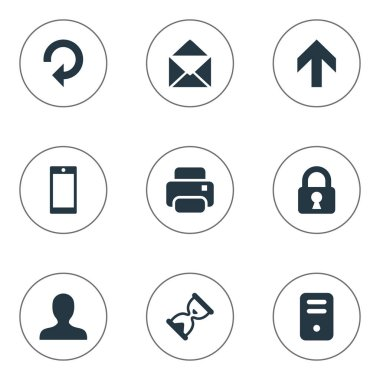 Set Of 9 Simple Practice Icons. Can Be Found Such Elements As Refresh, Printout, Lock And Other.