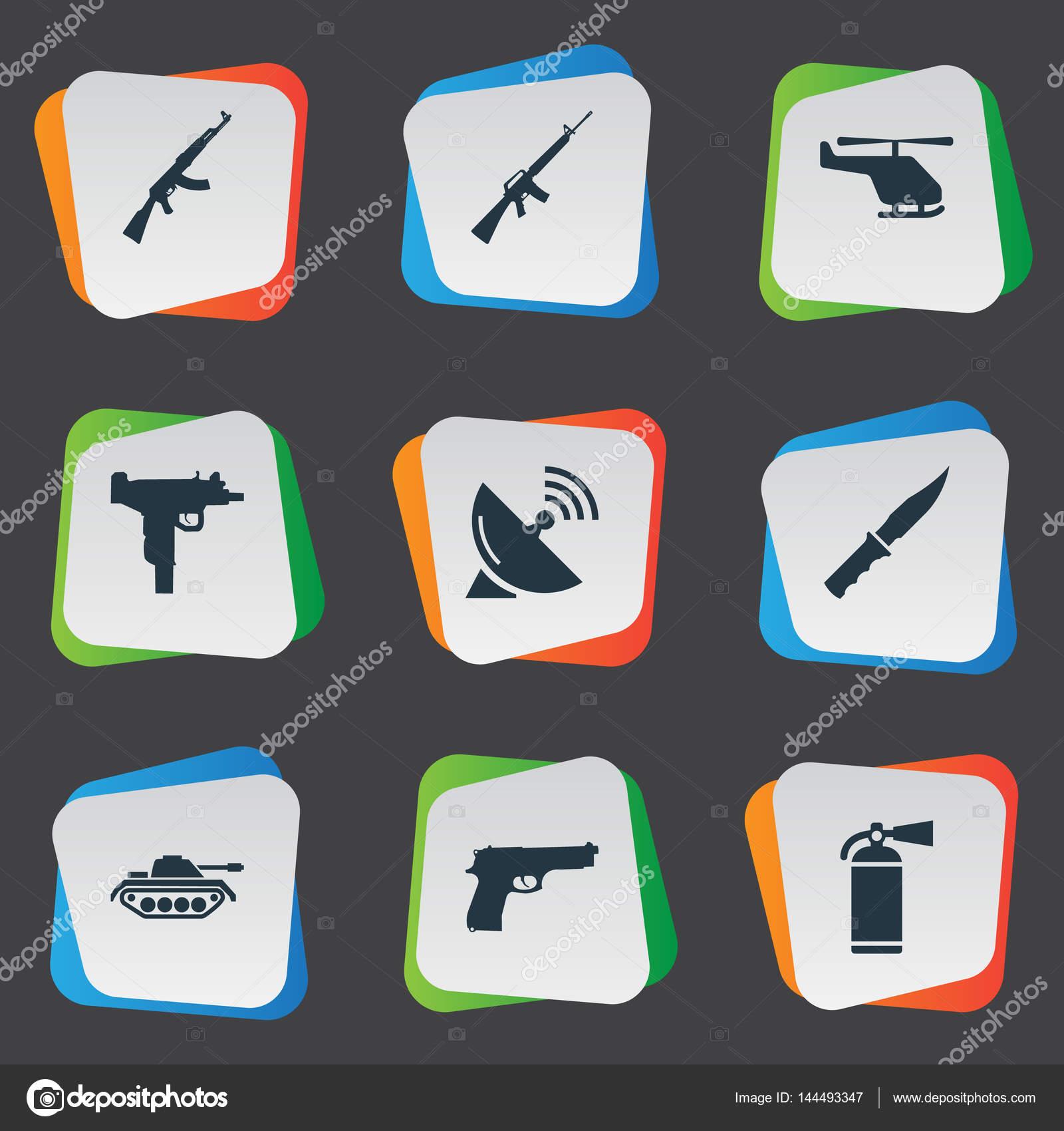 Set de 9 iconos de ejército Simple. Pueden encontrarse elementos ...