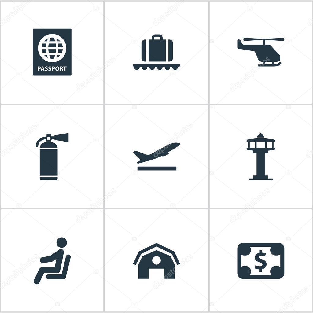 Set Of 9 Simple Transportation Icons. Can Be Found Such Elements As Seat, Currency, Protection Tool And Other.