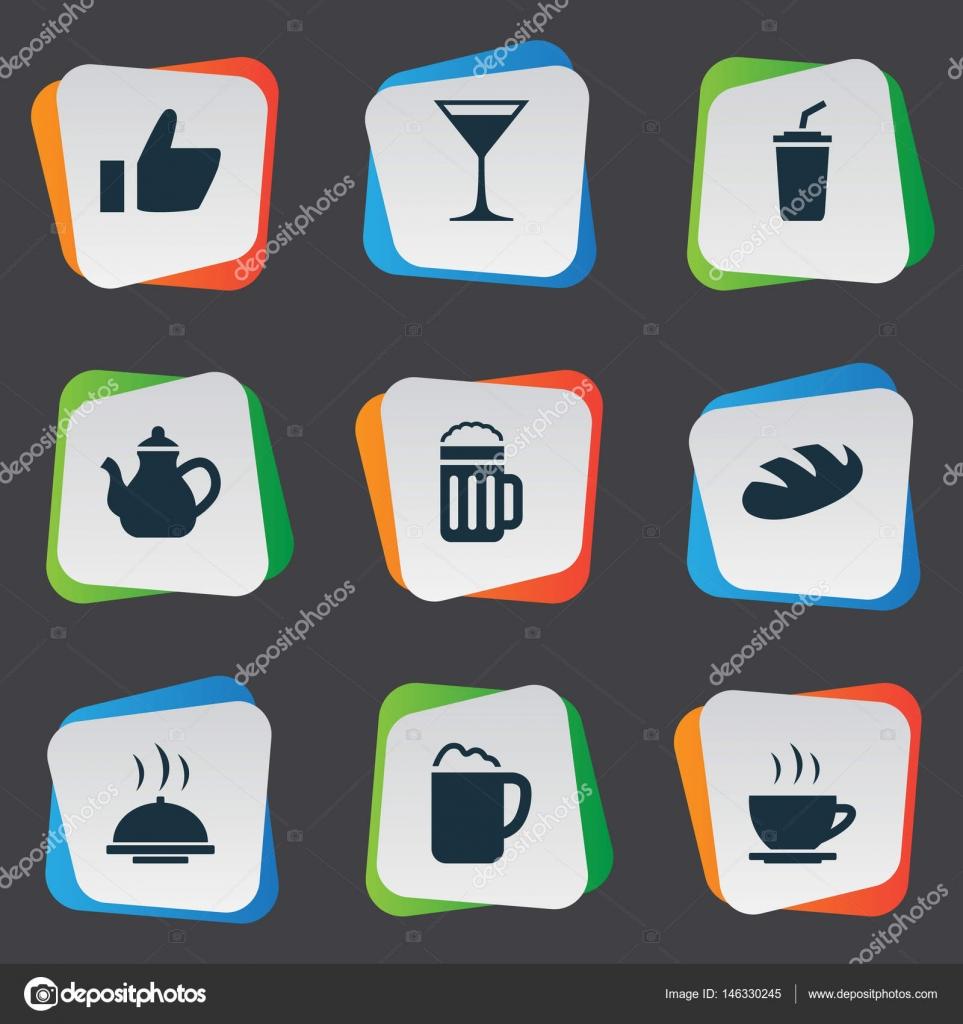 Vector Illustration Set Of Simple Beverage Icons Elements Pub Food