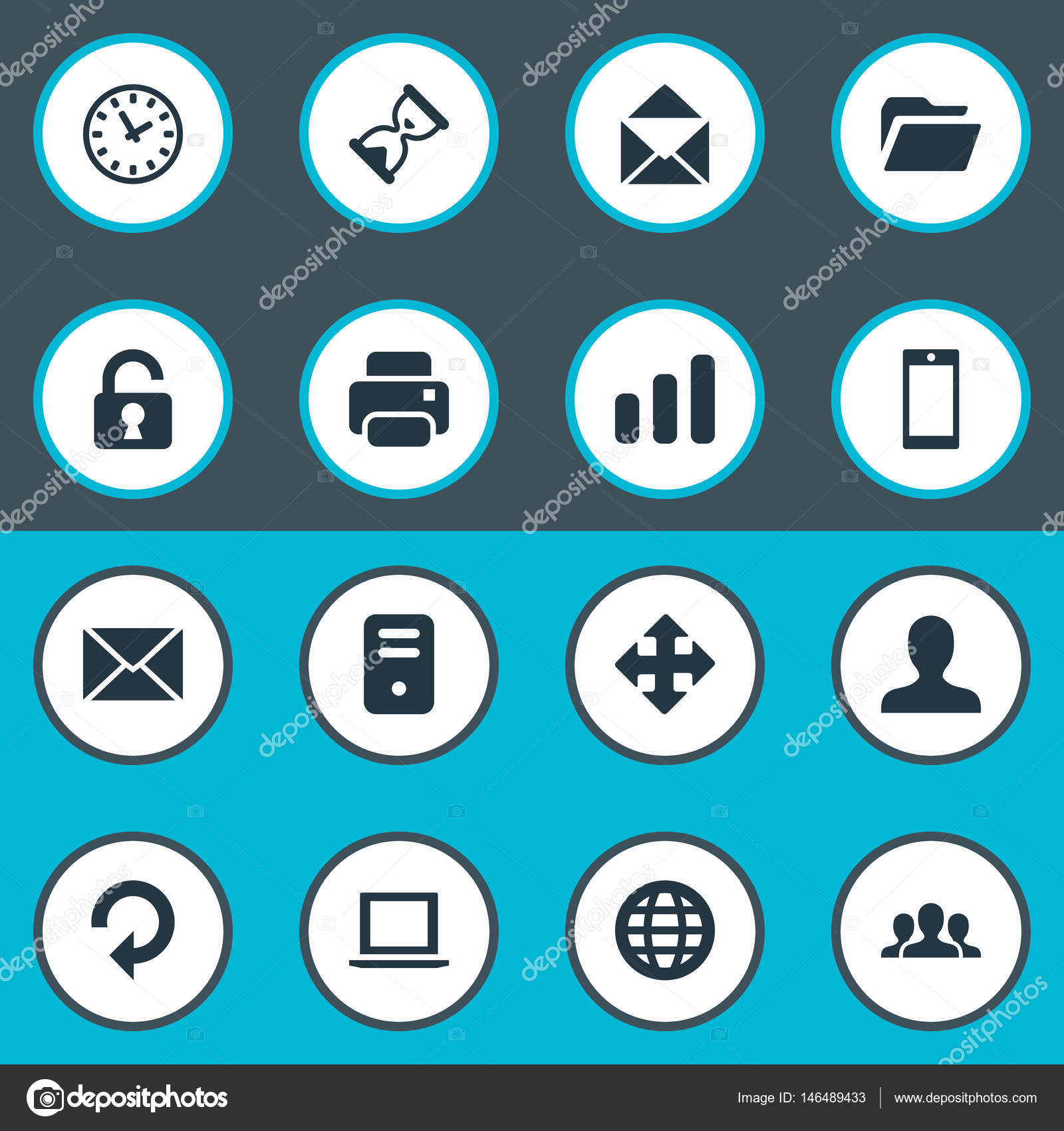vector illustration set of simple apps icons elements sand timer