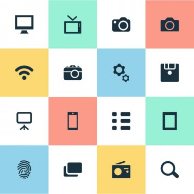 Vector Illustration Set Of Simple Hardware Icons. Elements Wireless Connection, Smartphone, Camcorder And Other Synonyms Presentation, Floppy And Layout.