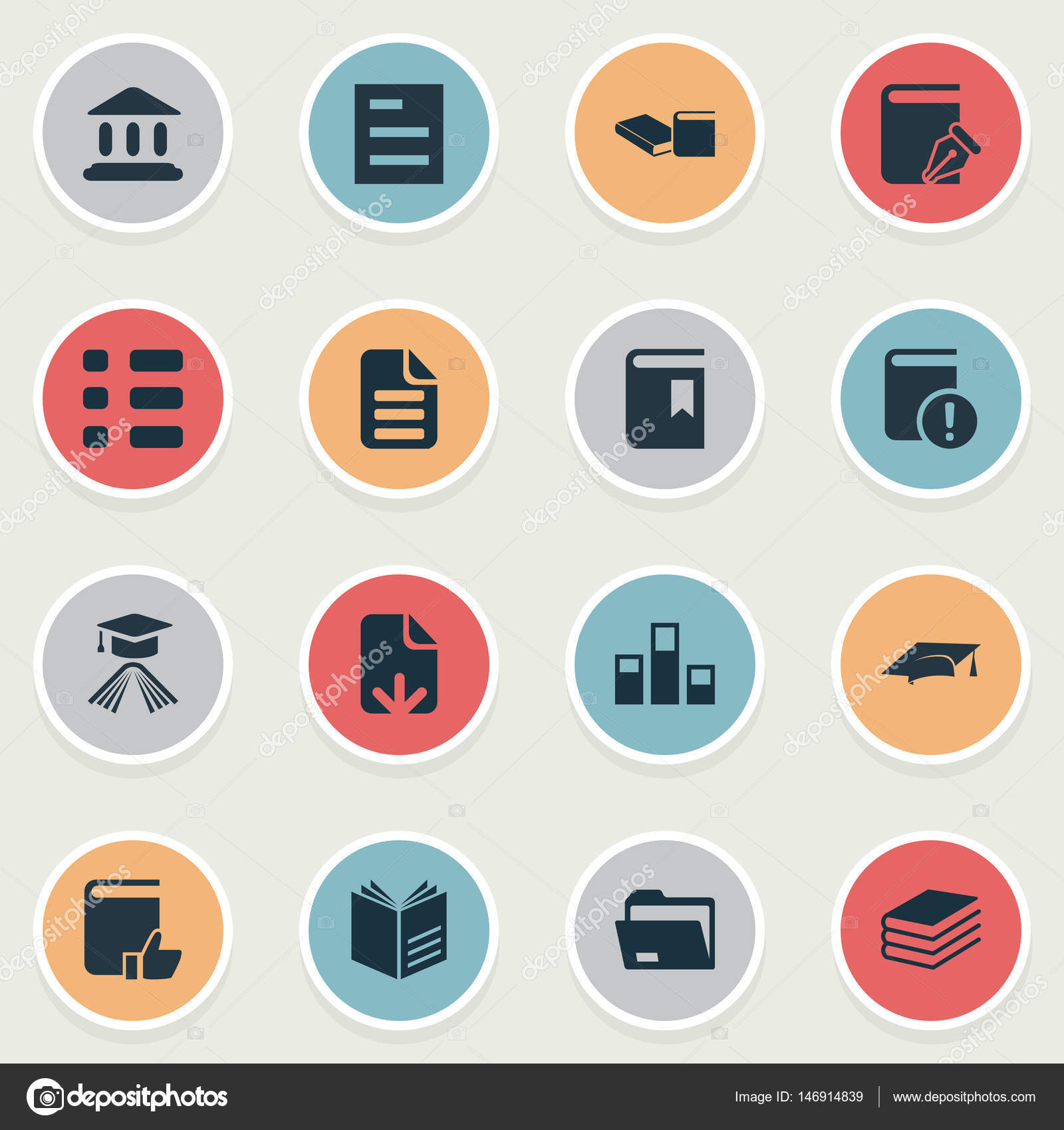 Vector Illustration Set Of Simple Reading Icons Elements Cover