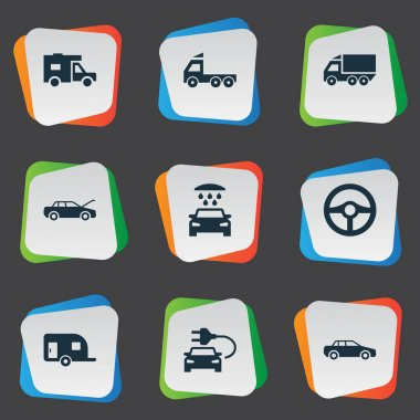 Vector Illustration Set Of Simple Transport Icons. Elements Steering Wheel, Camion, Transport Cleaning And Other Synonyms Trucking, Shipping And Delivery.