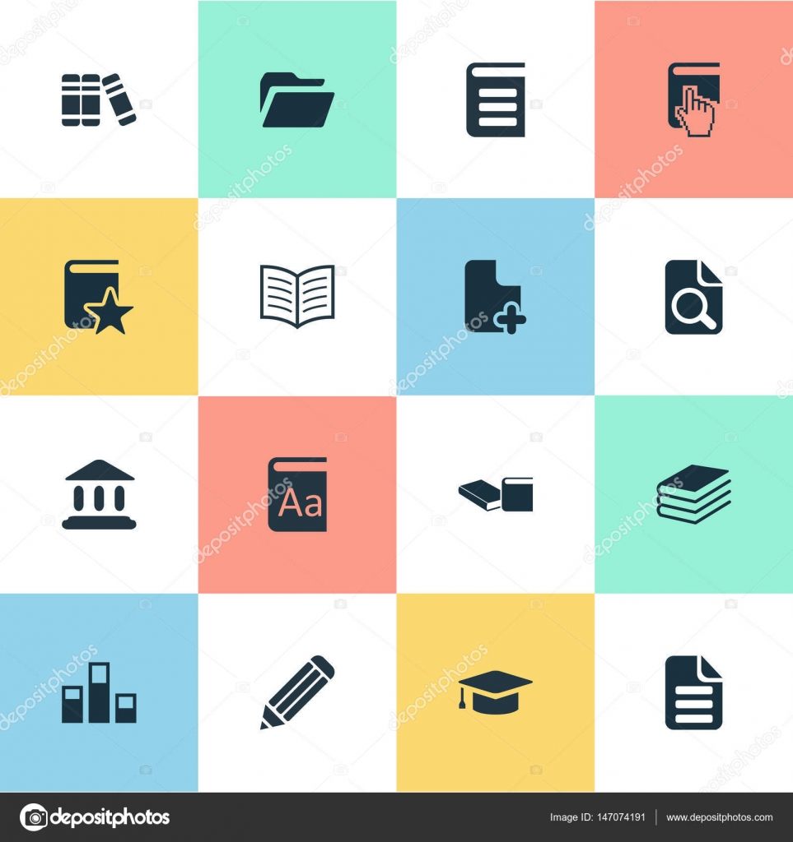 Vektor-Illustration-Set einfache Bildung Symbole. Online-Bildung ...