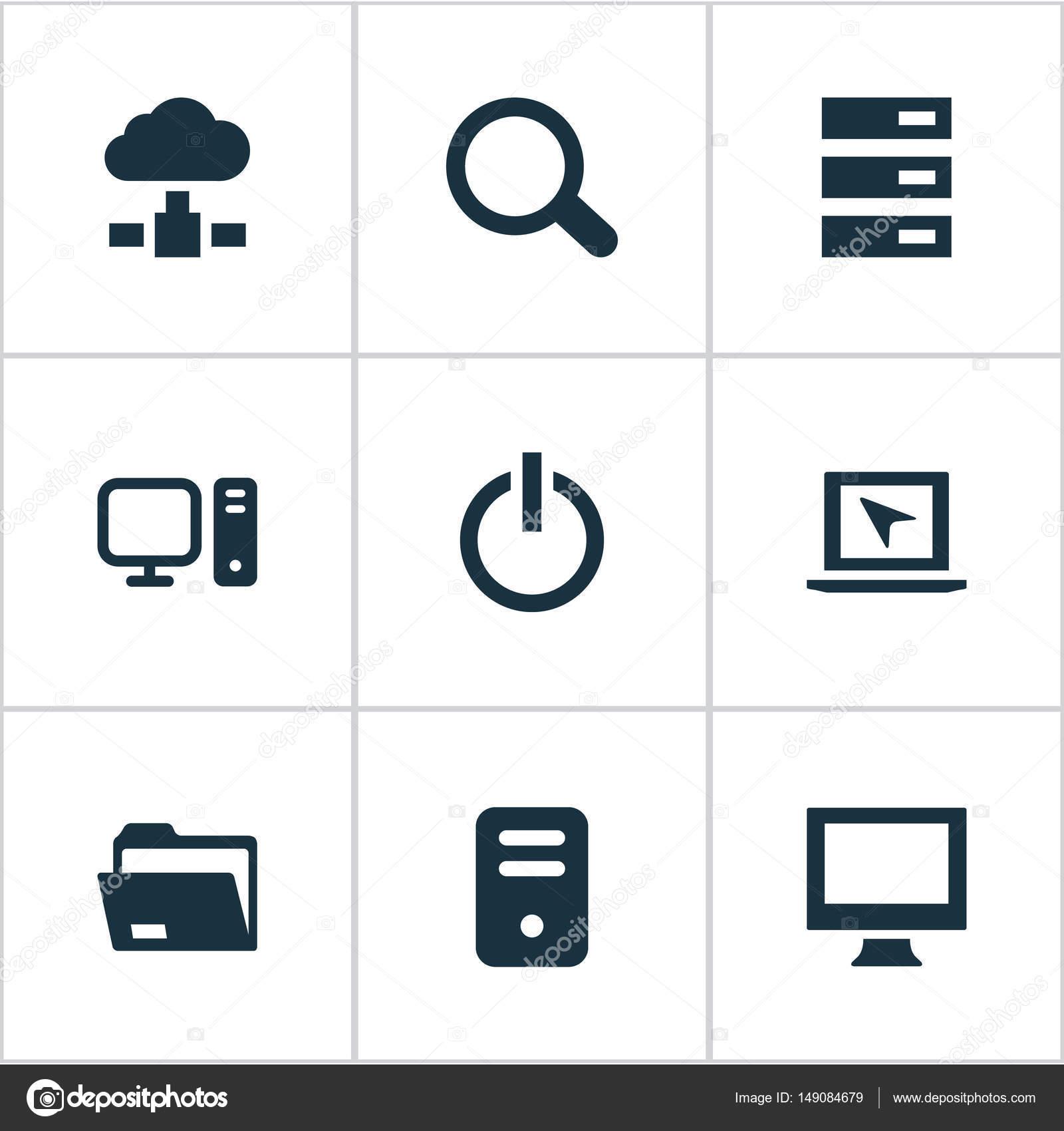 Vector Illustration der einfachen Computer-Icons Set. Elemente ...