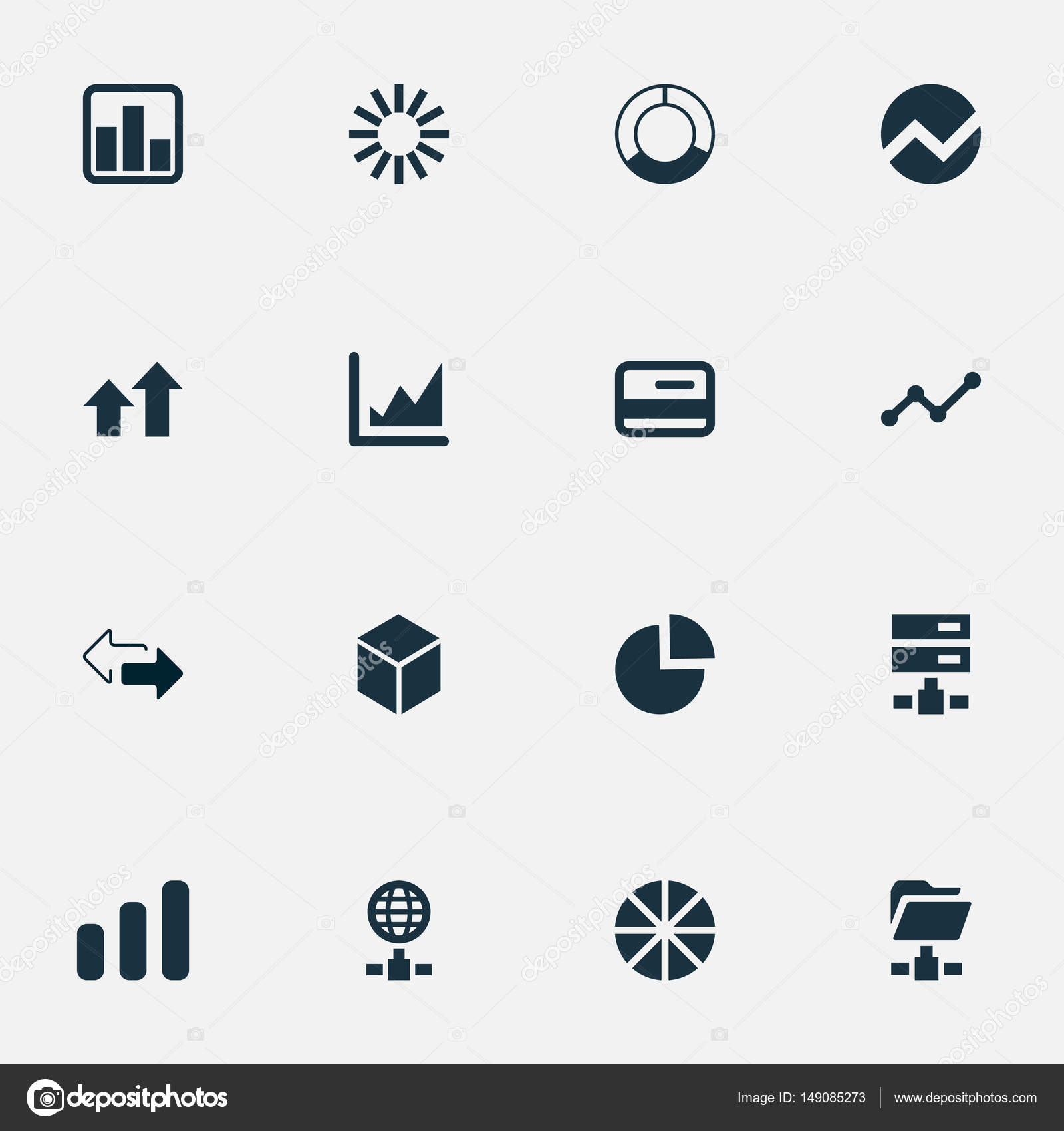 Vector illustration set of simple business icons elements increase elements increase graph economy pie chart and other synonyms internet circle and directions vector by rashadashurov geenschuldenfo Gallery