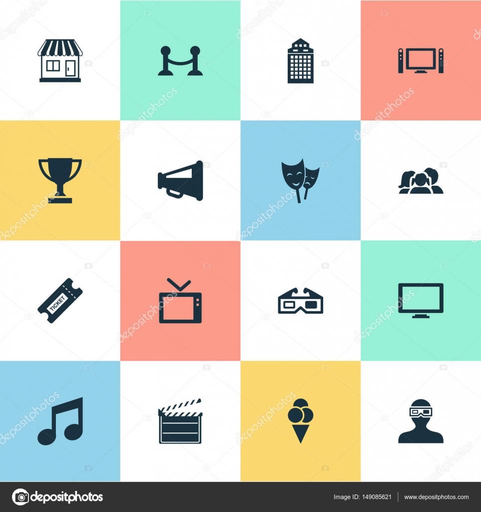 vektor-illustration-set von einfachen movie icons. elemente-struktur