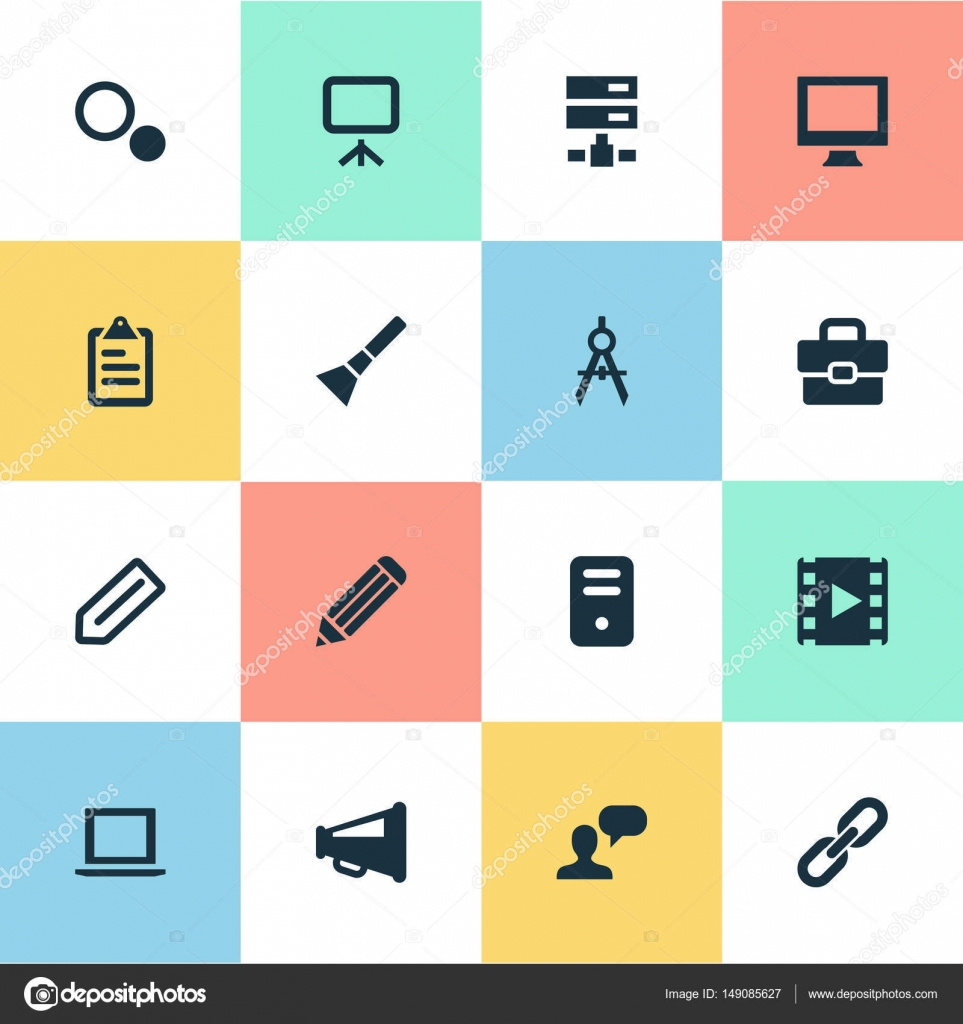 Vector illustration set of simple ui icons elements briefcase elements briefcase blueprint system unit and other synonyms settings layout and blueprint vector by rashadashurov malvernweather Gallery