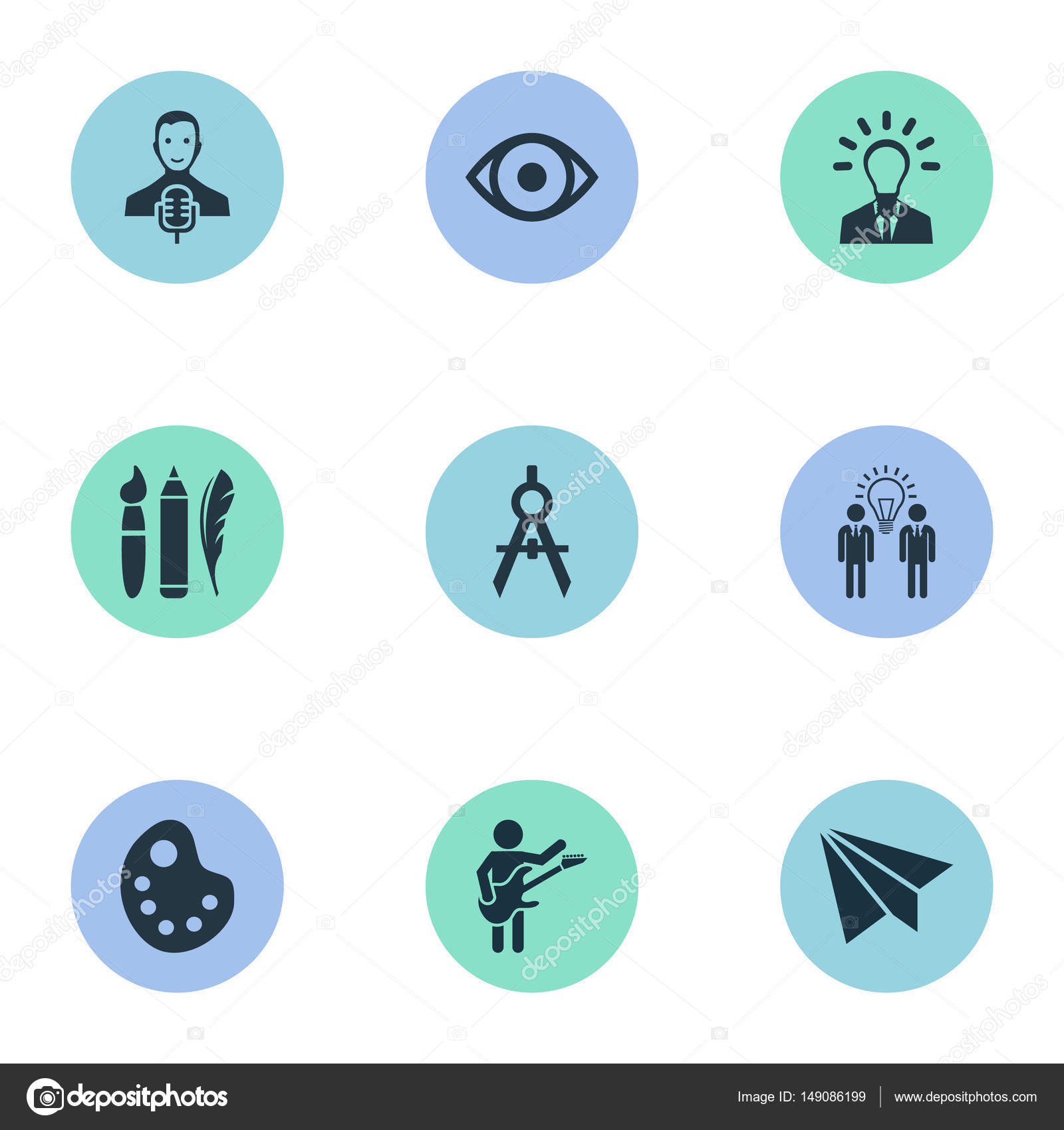 Vector Illustration Set Of Simple Visual Art Icons  Elements