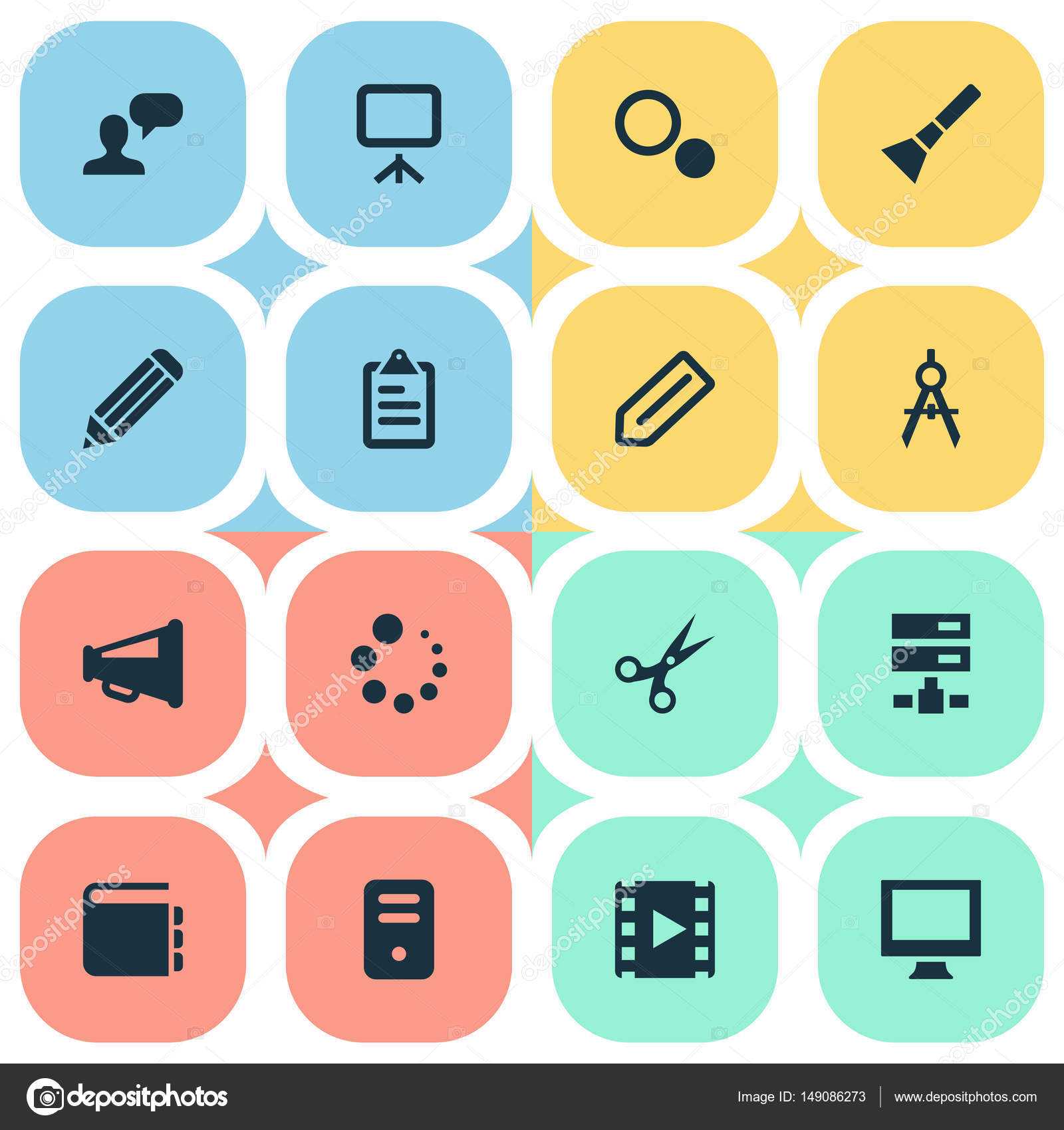 Vector Illustration von einfachen Web Icons Set. Elemente Blaupause ...