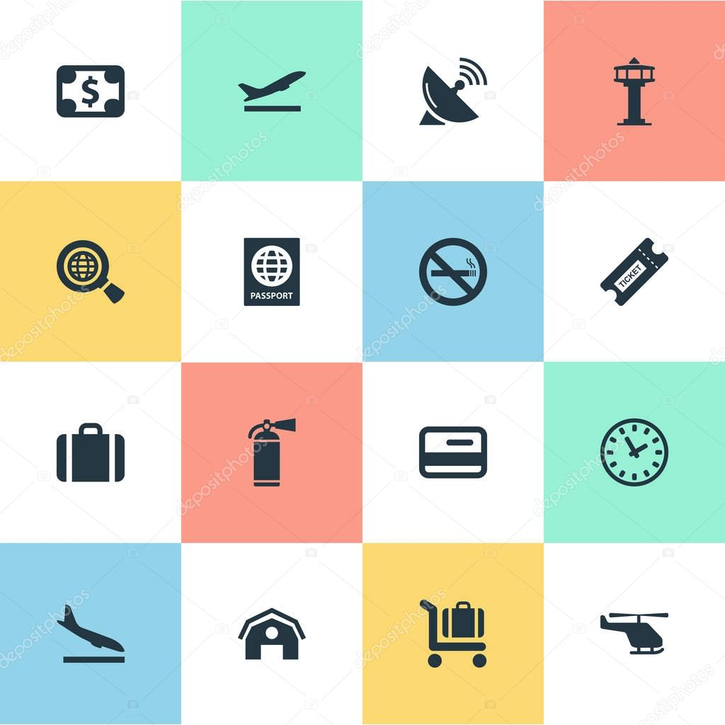 Vector Illustration Set Of Simple Travel Icons. Elements Garage, Baggage Cart, Watch And Other Synonyms Control, Case And Pass.