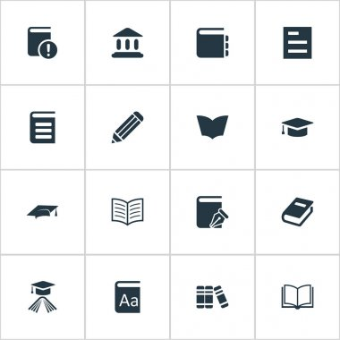 Vector Illustration Set Of Simple Education Icons. Elements Reading, Tasklist, Alphabet And Other Synonyms Journal, Note And Page.