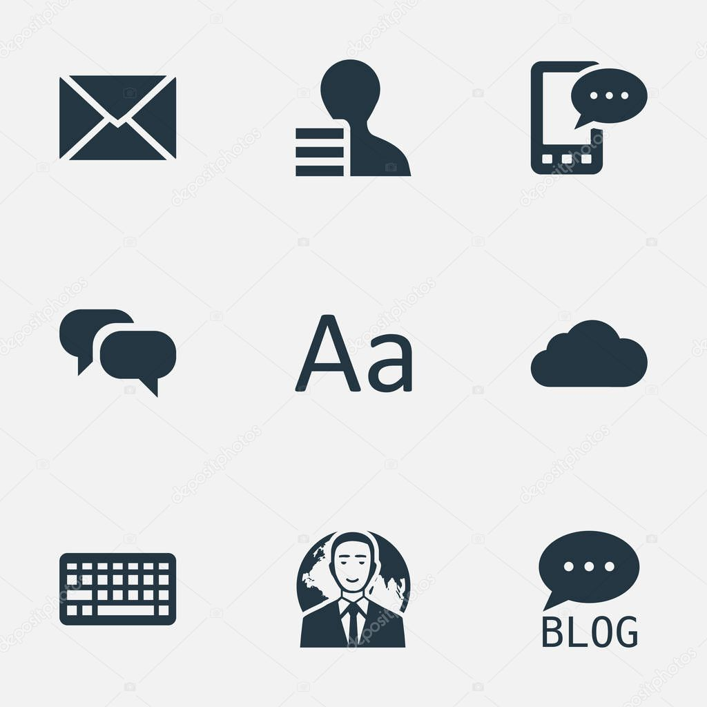 Vector Illustration Set Of Simple User Icons. Elements Overcast, Gain, International Businessman And Other Synonyms Globe, Gossip And Laptop.