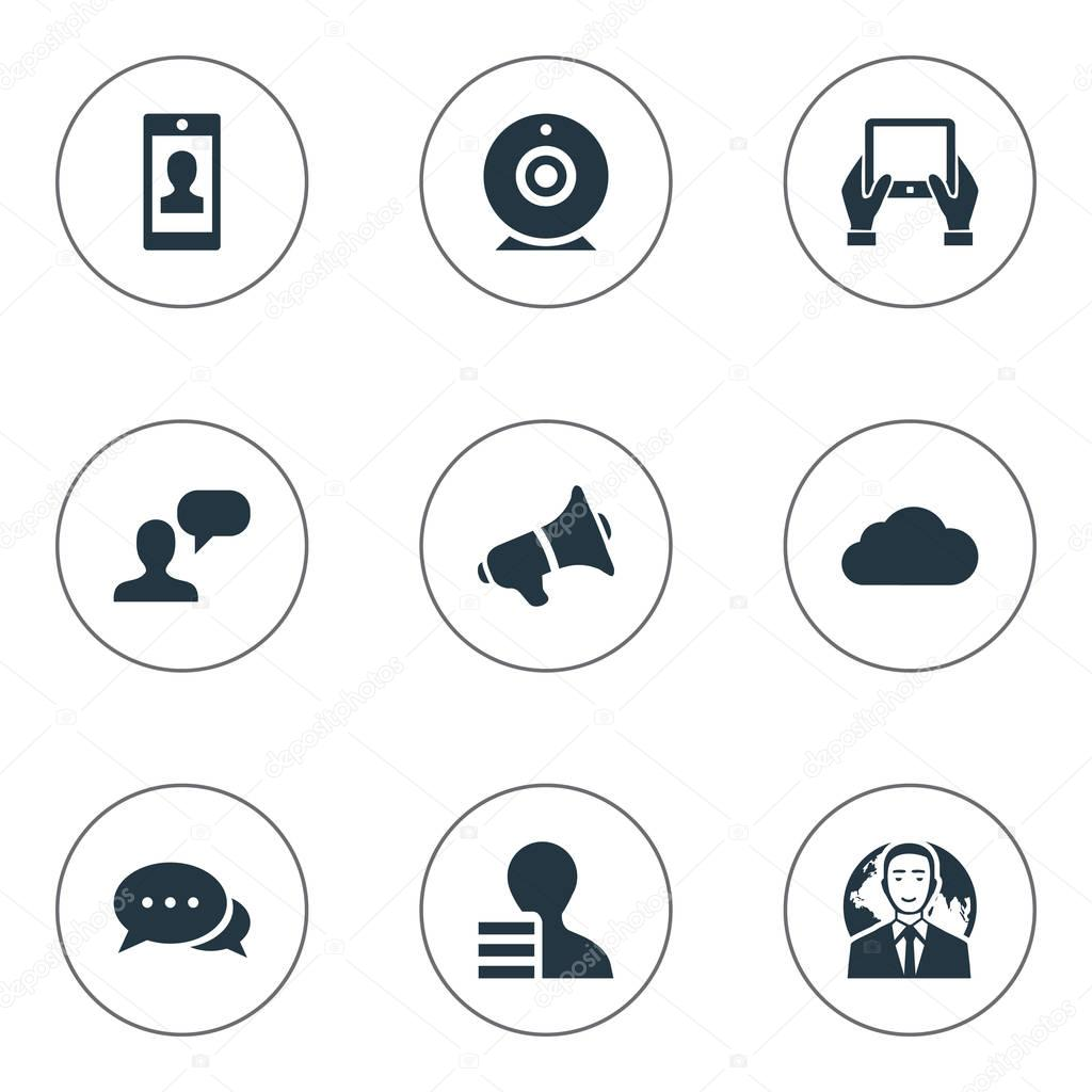 Vector Illustration Set Of Simple Blogging Icons. Elements International Businessman, Overcast, Man Considering And Other Synonyms International, Profile And Hand.