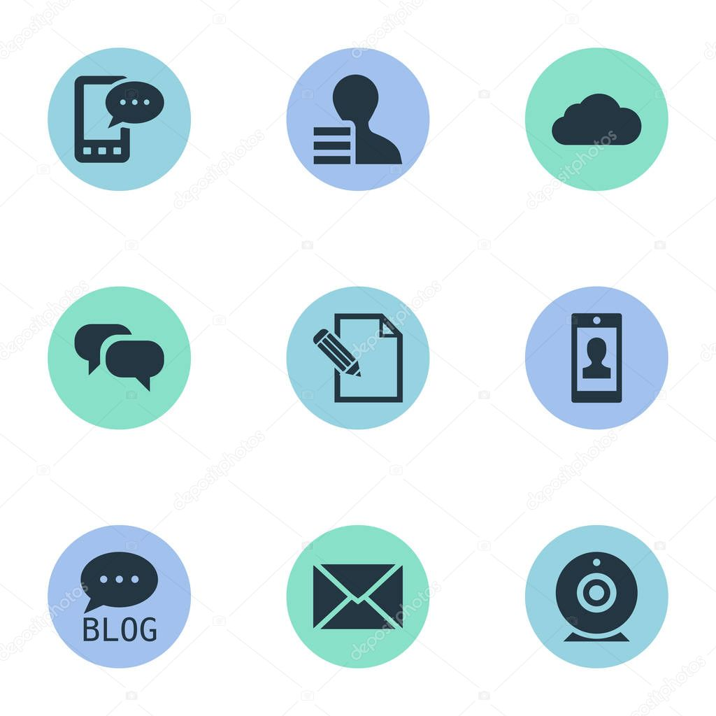 Vector Illustration Set Of Simple Blogging Icons. Elements Profile, Gossip, Gain And Other Synonyms Post, Phone And Epistle.