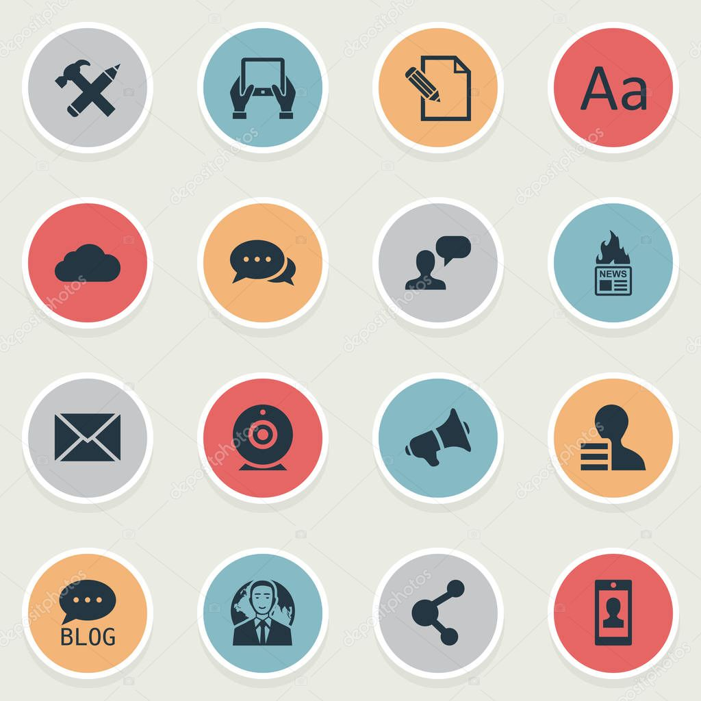 Vector Illustration Set Of Simple Newspaper Icons. Elements Notepad, Man Considering, Site And Other Synonyms Debate, Repair And Blog.