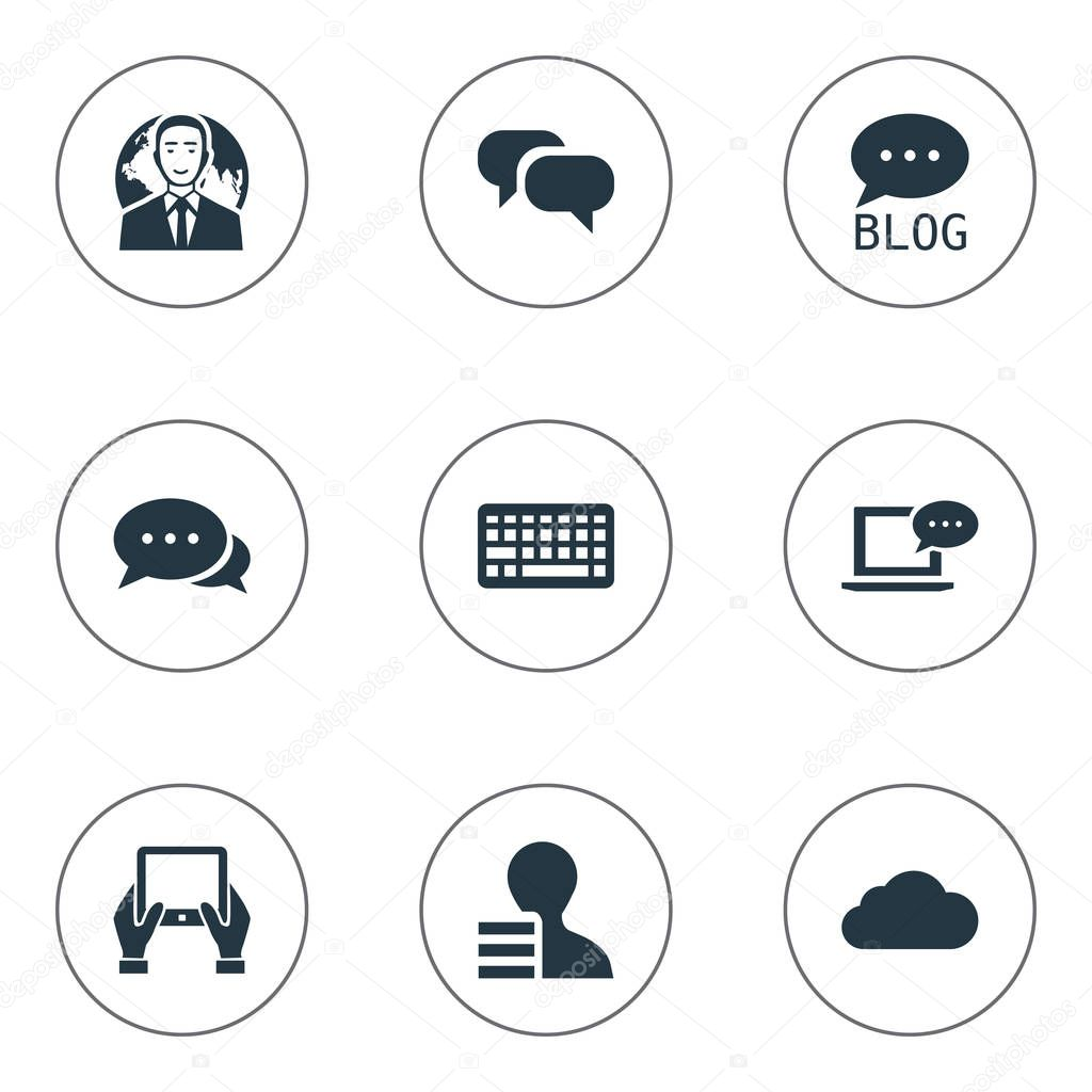 Vector Illustration Set Of Simple Newspaper Icons. Elements Overcast, Argument, Site And Other Synonyms Conversation, Speech And Laptop.