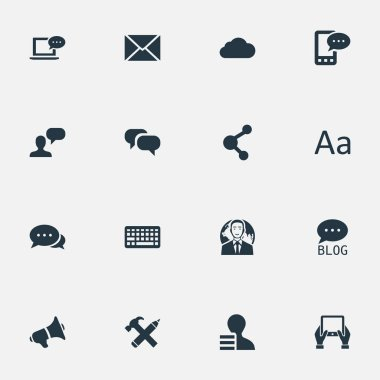 Vector Illustration Set Of Simple Blogging Icons. Elements Overcast, Laptop, Notepad And Other Synonyms Speaker, Typography And Conversation.