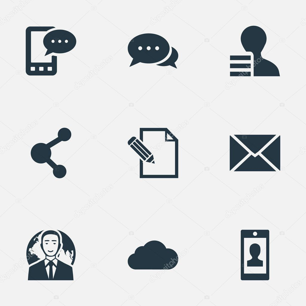 Vector Illustration Set Of Simple Blogging Icons. Elements International Businessman, Document, Overcast And Other Synonyms Overcast, Pen And Negotiation.