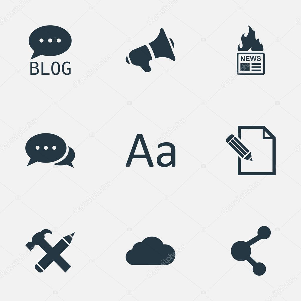 Vector Illustration Set Of Simple Newspaper Icons. Elements Document, Gazette, Argument And Other Synonyms Forum, Megaphone And Overcast.