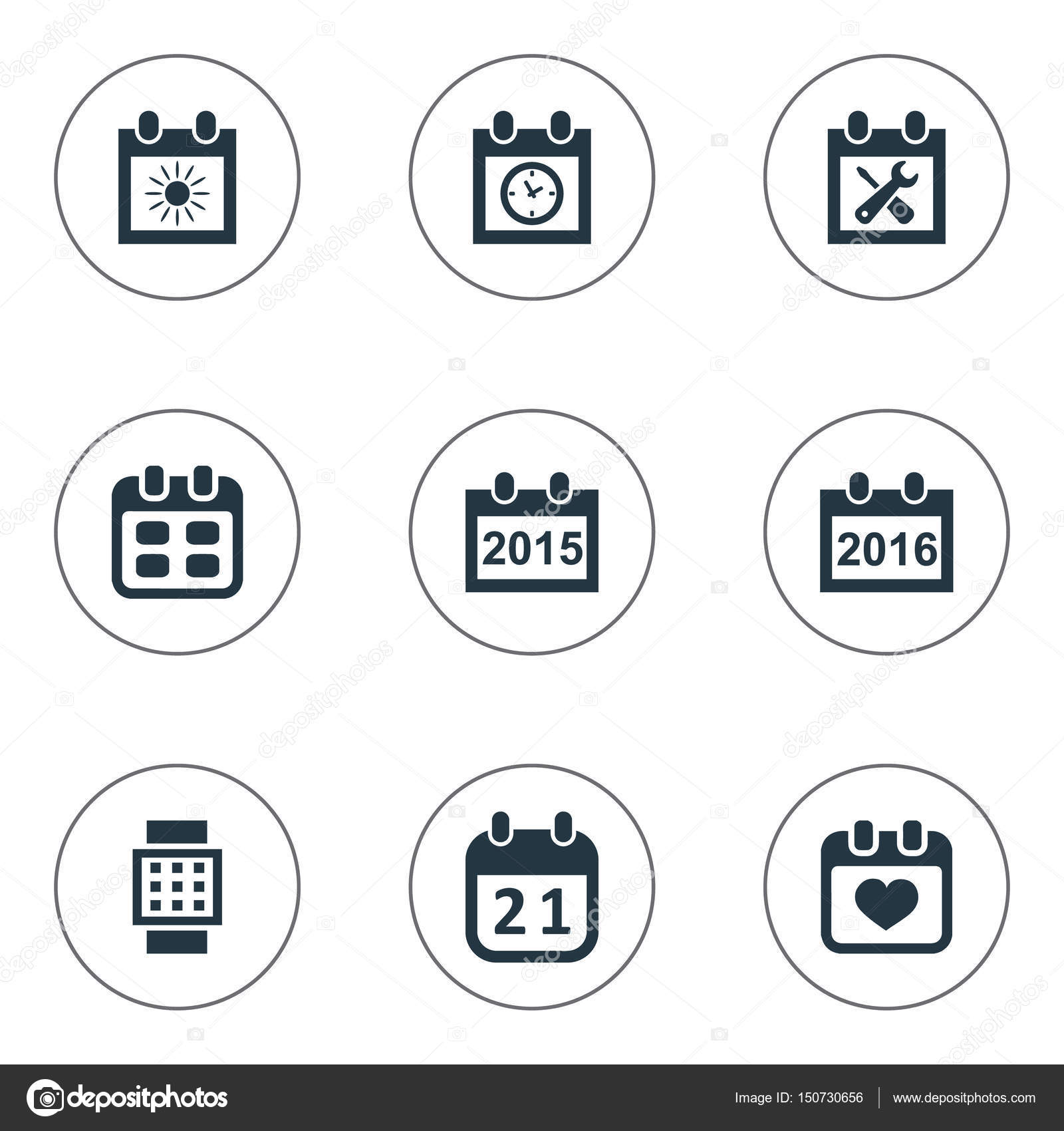 Annual Agenda | Vector Illustration Set Of Simple Calendar Icons Elements