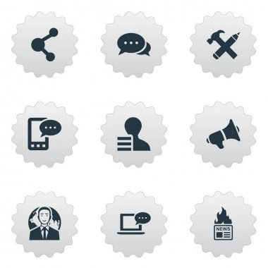Vector Illustration Set Of Simple Newspaper Icons. Elements International Businessman, Gazette, Argument And Other Synonyms International, News And Negotiation.