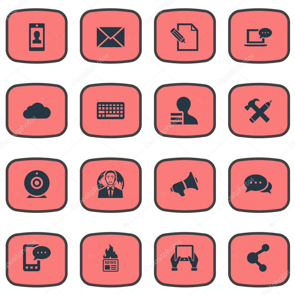 Vector Illustration Set Of Simple User Icons. Elements Overcast, Broadcast, E-Letter And Other Synonyms Gain, Message And Hammer.