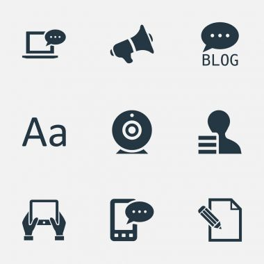 Vector Illustration Set Of Simple User Icons. Elements E-Letter, Cedilla, Loudspeaker And Other Synonyms E-Letter, Forum And Laptop.