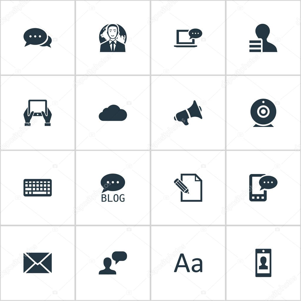 Vector Illustration Set Of Simple Newspaper Icons. Elements E-Letter, Laptop, Overcast And Other Synonyms E-Letter, Speaker And Contract.