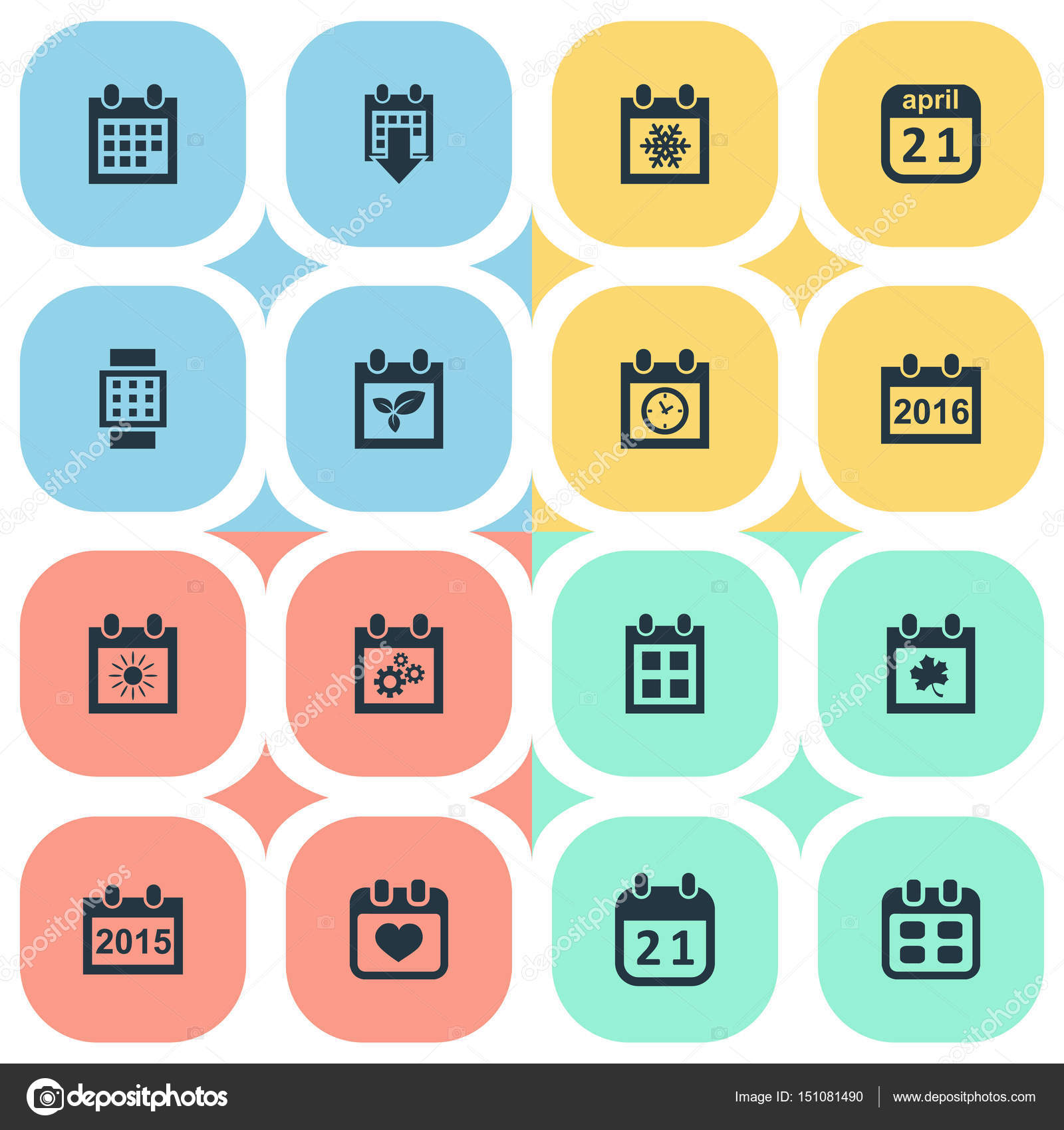 Vector Illustration Set Of Simple Date Icons Elements