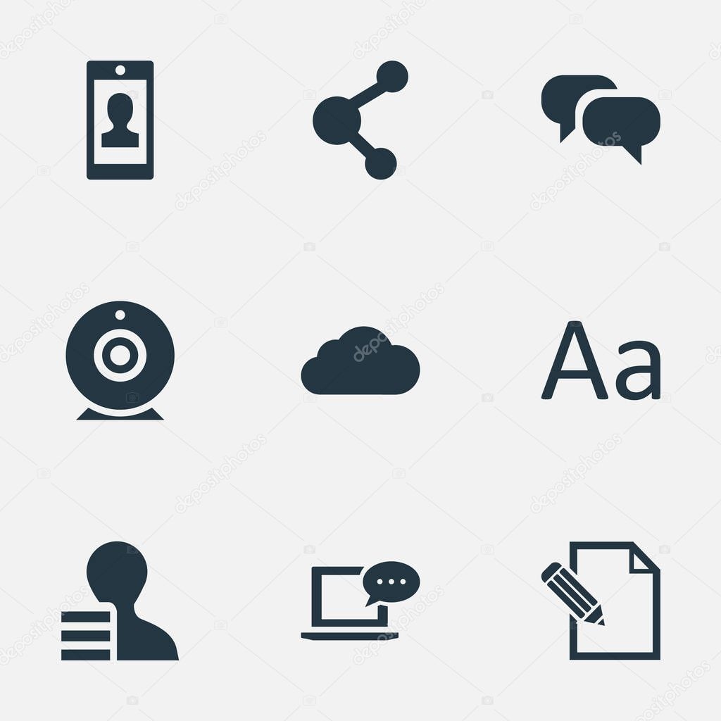 Vector Illustration Set Of Simple User Icons. Elements Laptop, Document, Gain And Other Synonyms Coming, Writing And Sky.