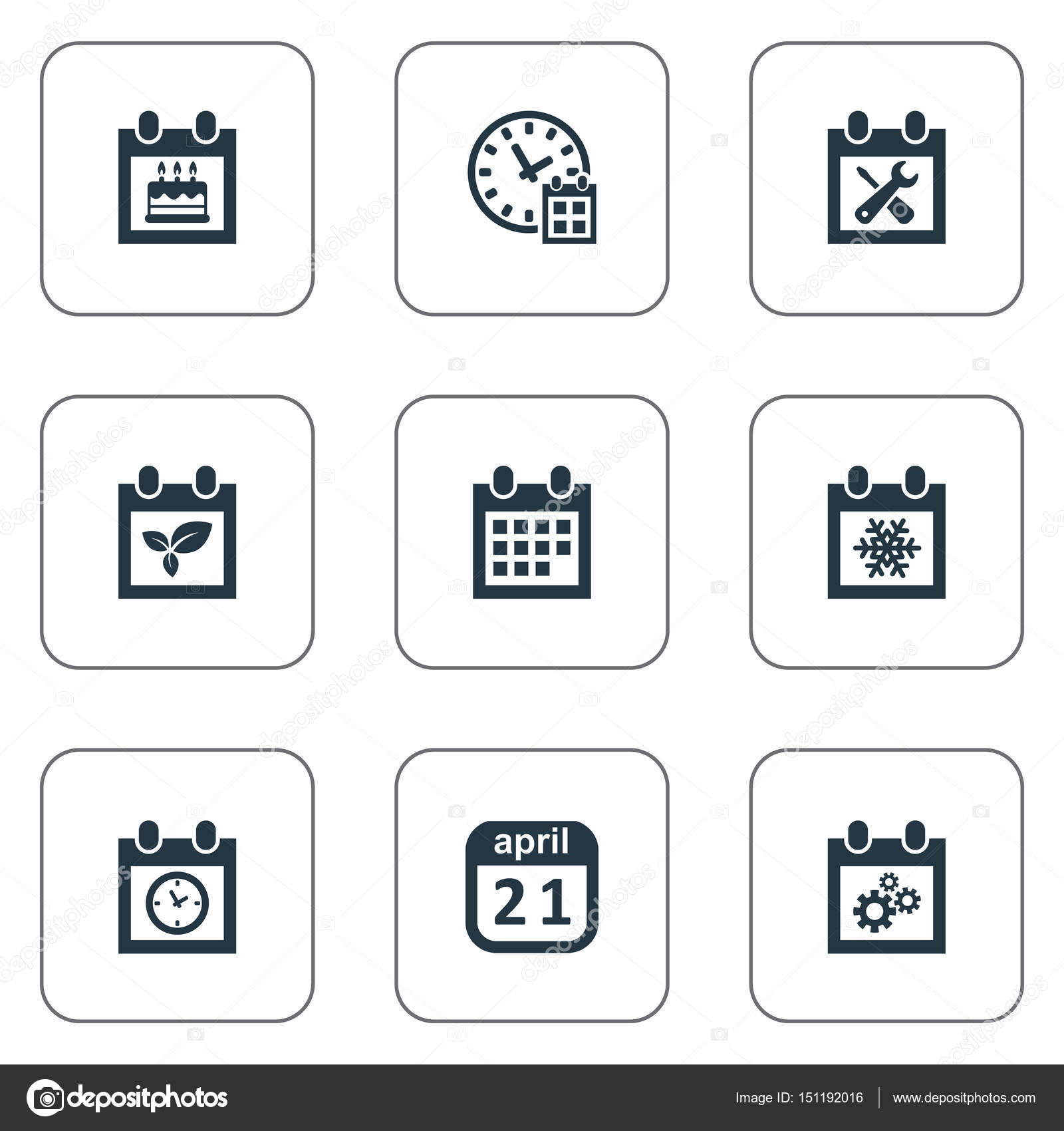 Vector illustration set of simple time icons elements snowflake vector illustration set of simple time icons elements snowflake plant deadline and other synonyms gear block and remembrance vector by rashadashurov malvernweather Image collections