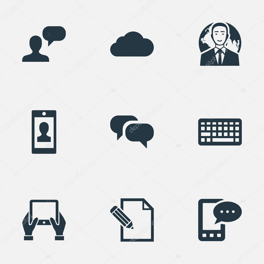Vector Illustration Set Of Simple Newspaper Icons. Elements International Businessman, Gossip, Keypad And Other Synonyms Globe, Keypad And Gossip.