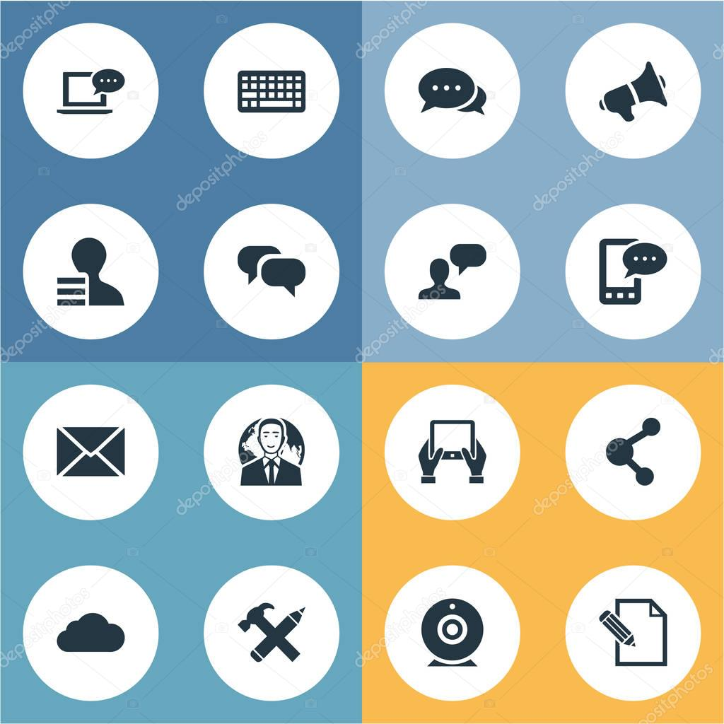 Vector Illustration Set Of Simple User Icons. Elements Share, Post, International Businessman And Other Synonyms Argument, Network And Coming.