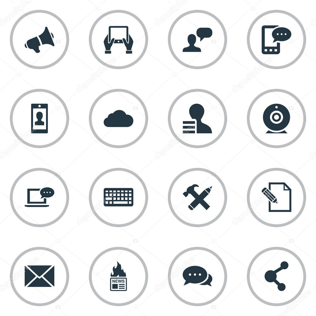 Vector Illustration Set Of Simple User Icons. Elements Share, Gain, Profile And Other Synonyms Pencil, Repair And E-Letter.