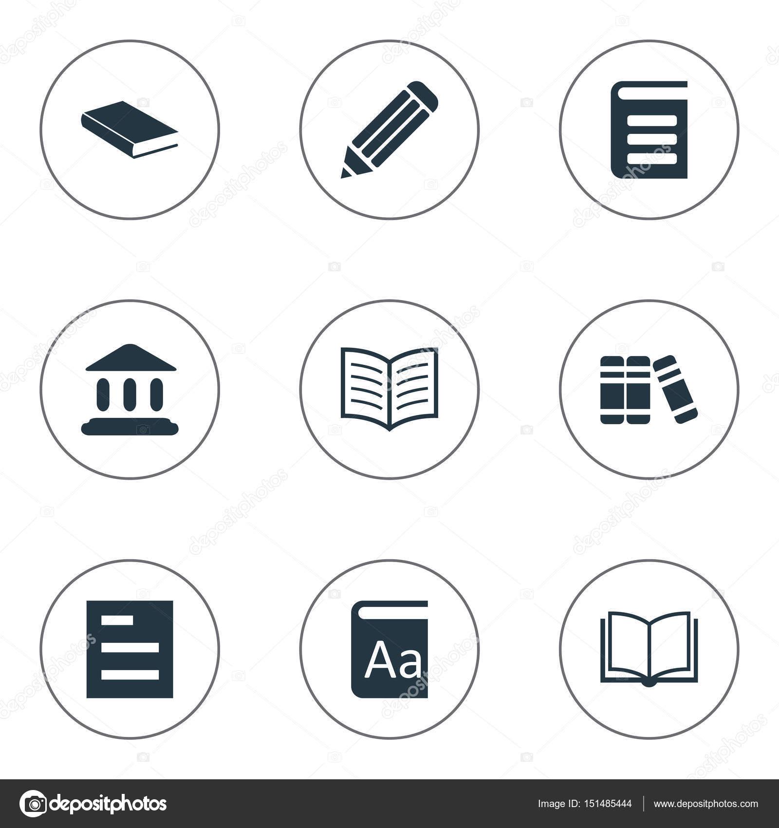 簡単な書籍のアイコンのベクトル イラスト セット要素を備えたページ