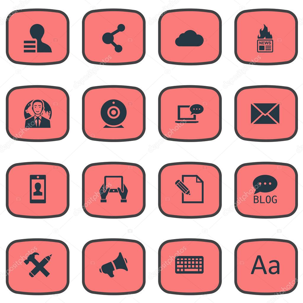 Vector Illustration Set Of Simple User Icons. Elements Gain, Gazette, International Businessman And Other Synonyms Profile, Hammer And International.