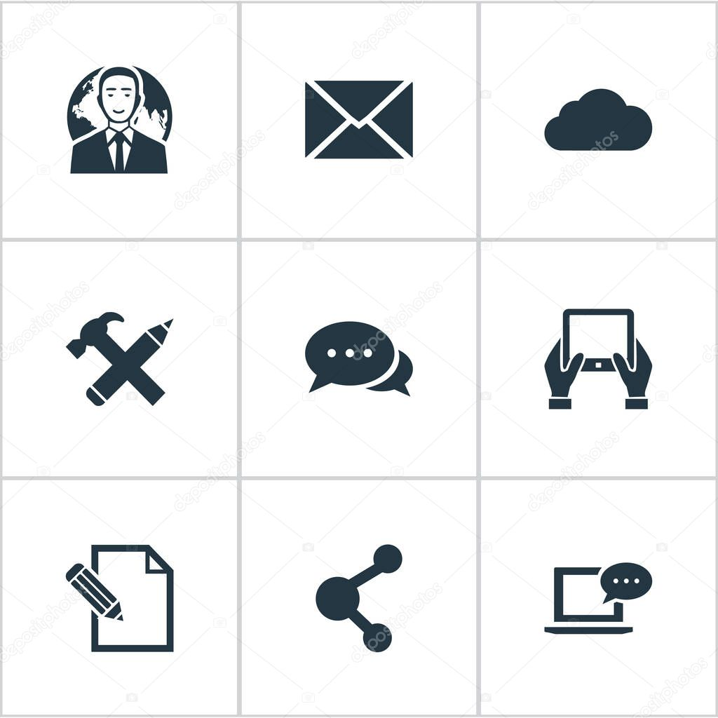 Vector Illustration Set Of Simple Newspaper Icons. Elements Overcast, Notepad, Share And Other Synonyms Repair, Missive And Contract.